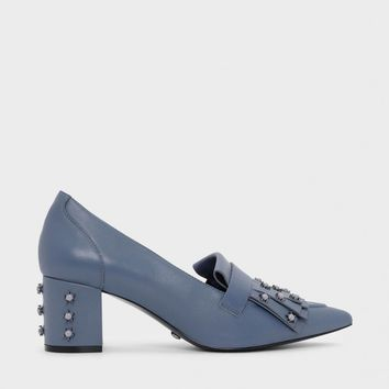 Slate Blue Embellished Leather Moccassins | CHARLES & KEITH