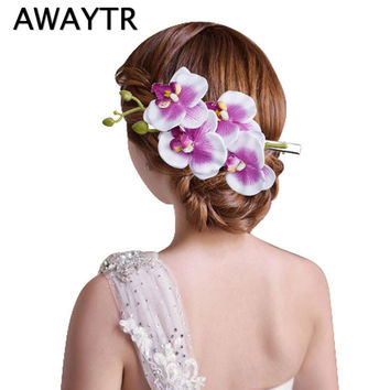 2017 Hot Sales Beauty Women Butterfly Orchid Flower Hair Clip Barrette Pin Bridal Wedding Party
