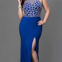 Floor Length Plus Dress with Illusion Bodice and Side Slit
