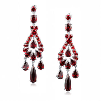 Red Teardrop, Round and Oval Cubic Zirconia Chandelier Earrings