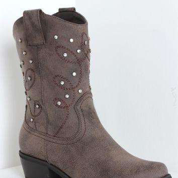 Rhinestone Cowgirl Boots Brown