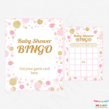 Pink and Gold Baby Shower Games - Bingo Game + Sign - Printable Baby Shower Game - Girl Baby Shower Confetti / INSTANT DOWNLOAD CB0003-pg