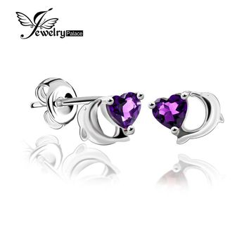Lovely Dolphin Design Natural Amethyst Earrings Stud Heart Gemstone Jewelry Genuine 925 Sterling Silver Best Gift For Friend