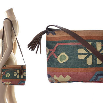 Vintage Southwestern Indian Kilim Leather Crossbody Bag 80s 1980s Boho India Tribal Ethnic Tapestry Woven Shoulder Hippie Bag