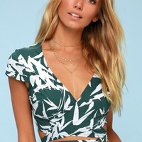 Calico Forest Green and White Leaf Print Wrap Crop Top