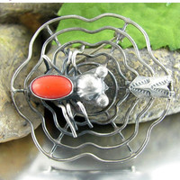 SALE Vintage NAVAJO Sterling SPIDER Pin Fly in Web Silver Red Coral Native American