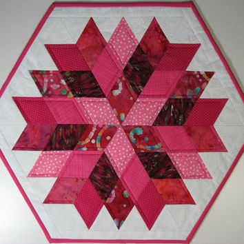 Quilted Table Topper , Scrappy Pink Valentine Table Topper , Rock Candy by Jaybird Quilts