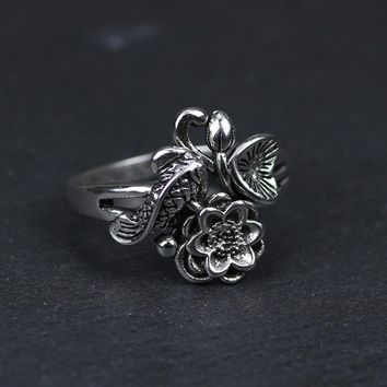 Authentic 925 Sterling Silver Fish And Lotus Flowers Rings For Women Adjustable Vintage Jewelry Aneis Feminino
