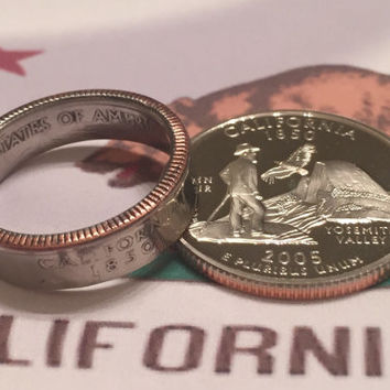 California Quarter Ring - California Coin Ring - California State Quarter - 2005 - Wedding Band - California Ring - Coin Jewelry