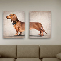 Dachshund portrait on colored background (2 poster 8x12) Dog Illustration fine art print