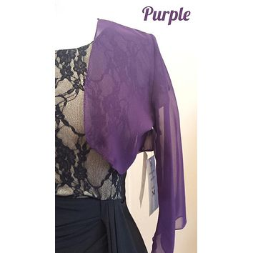 Mid Length Sleeve Sheer Purple Chiffon Bolero Jacket 3/4 Length Shrug