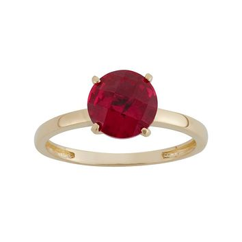 Lab-Created Ruby 10k Gold Ring (Red)