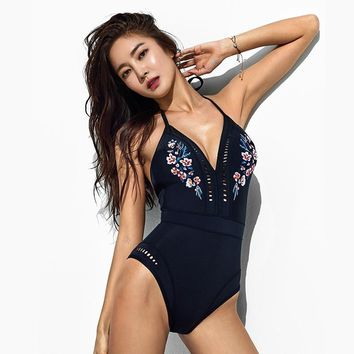 M&M Korean Version Of The Burst Piece Body Black Print Ladies Swimsuit Off Shoulder Gather Swimwear Sexy Shoulder Strap Swimwear