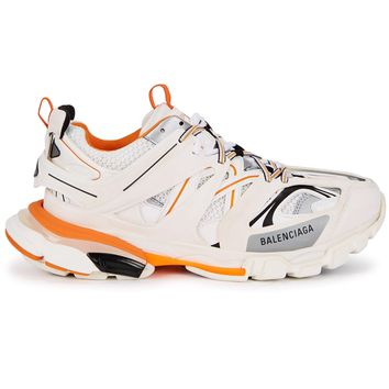 Ladies White and Orange Track 2 Sneakers by Balenciaga