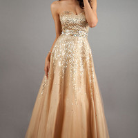 Strapless Sequin Ball Gown