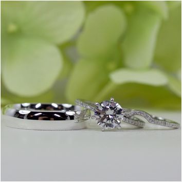 Her & Him Wedding Ring Set In Sterling Silver, Groom 5 MM Wedding Band