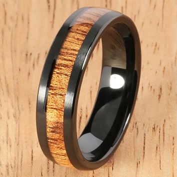 Black Tungsten Natural Hawaiian Koa Wood Inlaid Wedding Ring Barrel Shape 6mm Hawaiian Ring