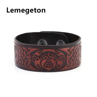 Lemegeton Vintage Brown Cuff Bangle Knot Pagan  Deer Heart Crown Jewelry Amulet Genuine Leather Bracelet  Mens Viking Jewelry