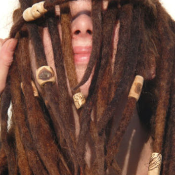 Wood beads: burned painted bead for dreads, handmade customized hippie natural wooden beads in different sizes and styles, bead with symbol