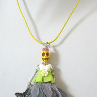 Day Of The Dead Necklace Sugar Skull Jewelry Butterfly Doll