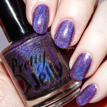 SUGAR PLUM FAIRY 15ml Holographic Nail Polish: Custom Indie Lacquer Handmade Purple Strong Linear Holo Varnish