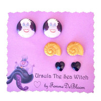 "Handmade ""Ursula the Sea Witch"" Inspired Earring Set - Little Mermaid Ursula - Disney Villains"