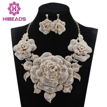 Luxury Gold Flowers Statement Necklace Earrings Set Rhinestone Bridal Jewelry Sets for Women Nigerian Wedding Gift 9 ColorsWC004