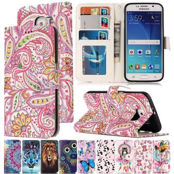 Varnish Relief Leather Case For Samsung Galaxy S6 S6 Edge Leather Flip Wallet Cover For Galaxy S7 S7 Edge Mobile Phone Shell