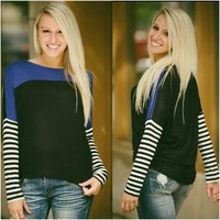Stripes In The City Top (Royal) - Piace Boutique