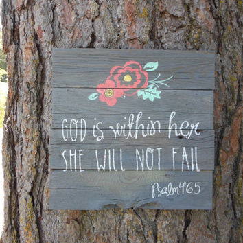 """Joyful Island Creations """"God is within her she will not fail"""" Psalms 46:5 wooden sign"""