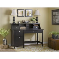 Bush Furniture Broadview Computer Desk with 2 Drawer Pedestal & Organizer in Espresso Oak