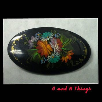 Vintage russian folk art painted brooch