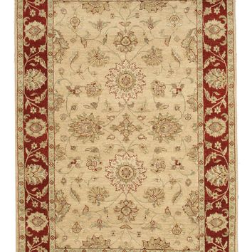 EORC Hand-knotted Wool Beige Traditional Oriental Agra Rug