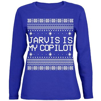 Jarvis Is My Copilot Ugly Christmas Sweater Womens Long Sleeve T Shirt