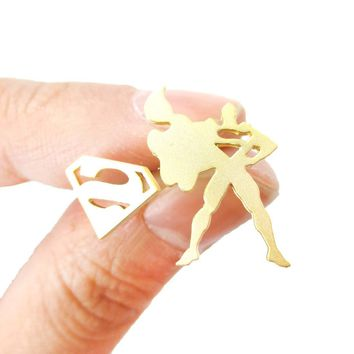Superman Silhouette and Logo Symbol Shaped Stud Earrings in Gold | Allergy Free