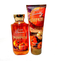 Bath Body Works Sweet Cinnamon Pumpkin 8.0 Oz Body Lotion and Shower Gel 10 Oz