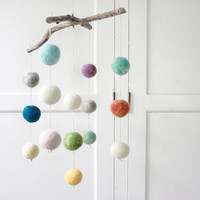 Colorful Felt Ball Mobile, Baby Mobile, Minimalist Nursery, Muted Nursery Decor