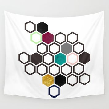 Hexagons Wall Tapestry by Xiari