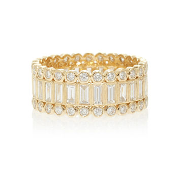 Baguette And Round Bezel Stacked Eternity Ring | Moda Operandi