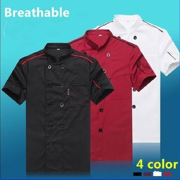 2017 Summer Short-sleeved Chef service Hotel working wear Restaurant work clothes Tooling uniform Chef Jackets 4 color