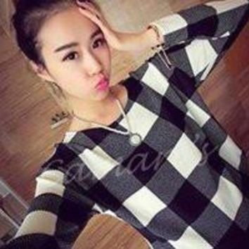 Plaid Knitted Top