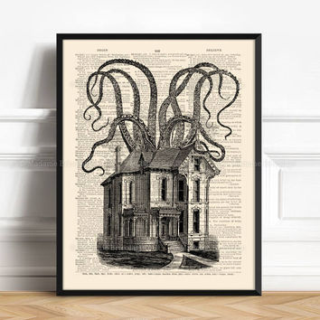 Kraken Octopus Print, Cute Gifts Boyfriend, Haunted House Decor, Mystery Art Print, Tentacles Print Gift, Funny Dorm Print, Horror Home  509