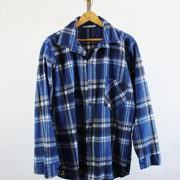 SALE - Retro 90s Mens Wool Blue White Plaid Shirt - Mens size Large