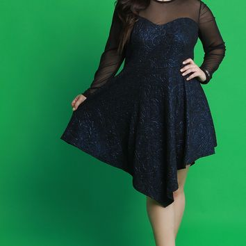 Mesh and Metallic Shimmer Asymmetrical Skater Dress