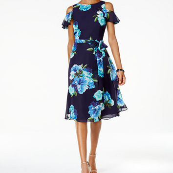 Jessica Howard Petite Floral-Print Cold-Shoulder Dress - Dresses - Women - Macy's