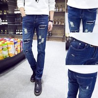 New Fashion Mens Ripped Jeans Famous Brand Skinny Jeans Men High Quality Ripped Jeans For Men Oversized Male Jeans Pants