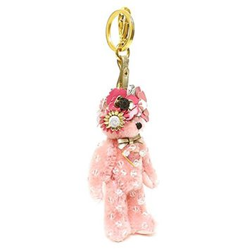 Prada Teddy Bear Keychain Enea Pink Jeweled Flower Headdress Bag Charm 1TO032