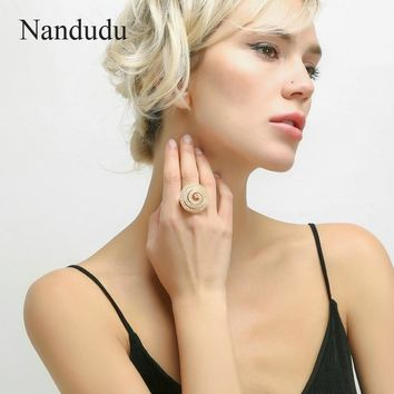 Nandudu Gold Color Wire Mesh Net Tube Austrian Crystal Rings for Women Girl Luxury Jewelry Gift Ring Accessories R1887