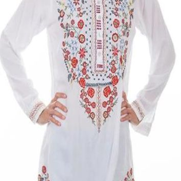 Honey Creek by Scully Long Sleeve Embroidered Tunic~ White