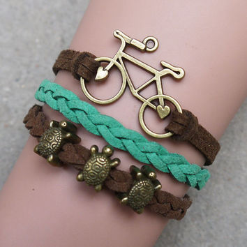 Bike - Little Turtle antique bronze Bracelet, Korea velvet Bracelet, Friendship Gift , Personalized Bracelet